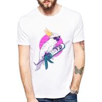 2017 Summer Men T Shirt Parrots Printing Short Sleeve Tee Shirt Fashion Men Tops Casual Funny