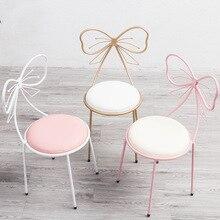 Скандинавский короткий современный стул для маникюра, металлический стол для маникюра, стол с бантом, милые розовые стулья