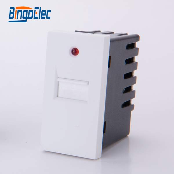 usb color connectors - Three color usb socket with light indicator,1/2 usb wall charher socket part,no frame,EU/UK,Hot sale