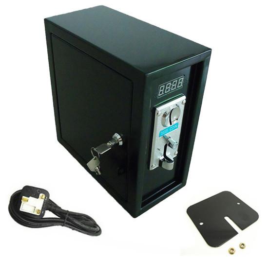 220 V caja de fichas de Reloj de Control Board Fuente de Alimentación con placa frontal DE ALEACIÓN de ZINC de aceptador de la moneda, lock, y llaves