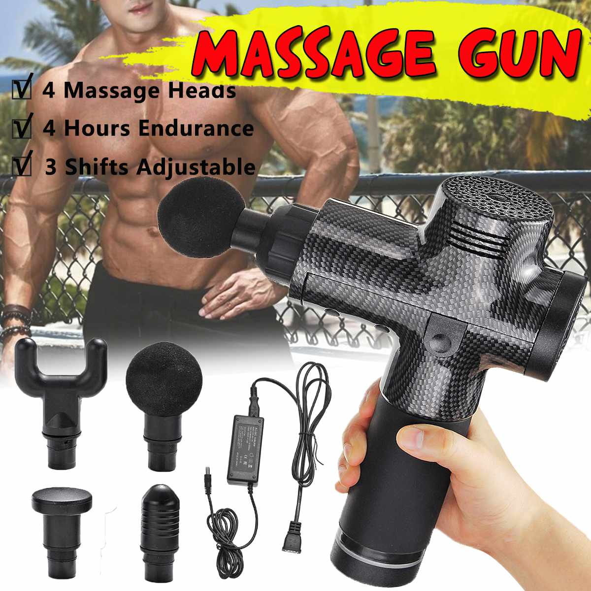 Deep Muscle Relaxation Massage Guns Electronic Therapy Body  Muscle Massager Rechargeable 3 Files 24V Relief Pain w/4 HeadsDeep Muscle Relaxation Massage Guns Electronic Therapy Body  Muscle Massager Rechargeable 3 Files 24V Relief Pain w/4 Heads