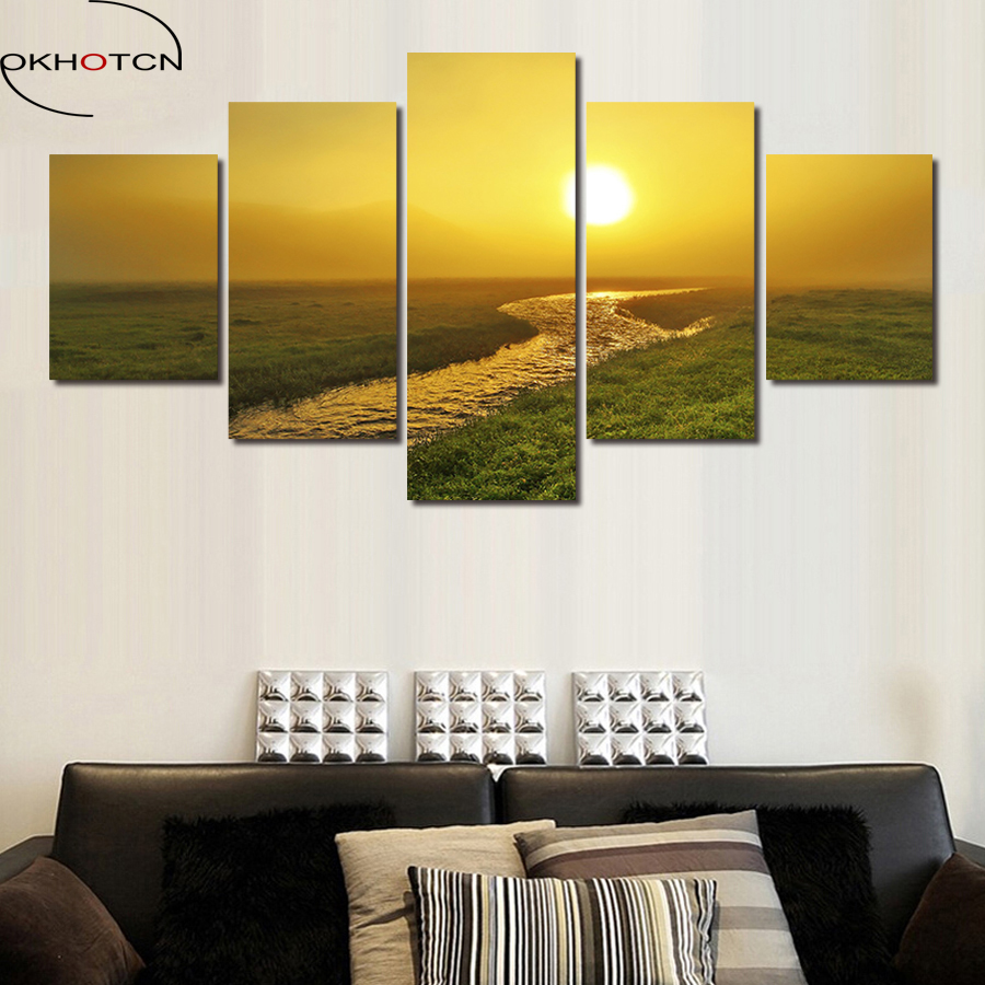 OKHOTCN Artist Canvas Sunset Country Road Painting Sun River HD Printed Canvas Artwork Wall Pictures For Living Room Posters image