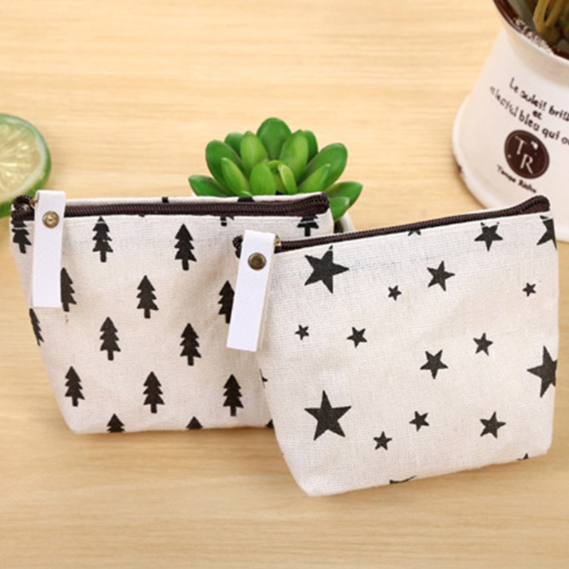 1pcs Simple Creative Canvas Coin Purses Dot Small Tree Star Sign Small Change Wallet Canvas Coin Purses Child Gift