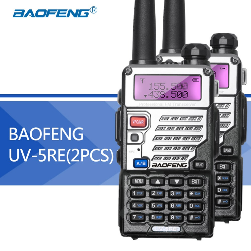 2 pz Baofeng UV5RE Walkie-Talkie UV5R Versione Aggiornata UHF VHF Dual Watch CB Radio VOX Ricetrasmettitore FM per caccia Radio