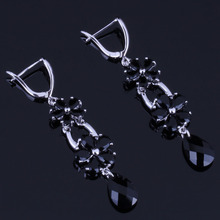 Outstanding Flower Water Drop Black Cubic Zirconia 925 Sterling Silver Dangle Earrings For Women V0811
