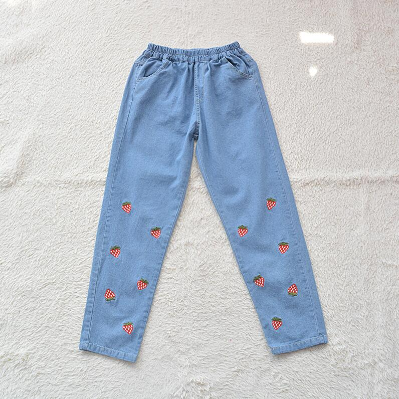 Spring New Japanese Soft Sister Cute Strawberry Embroidery Loose Jeans