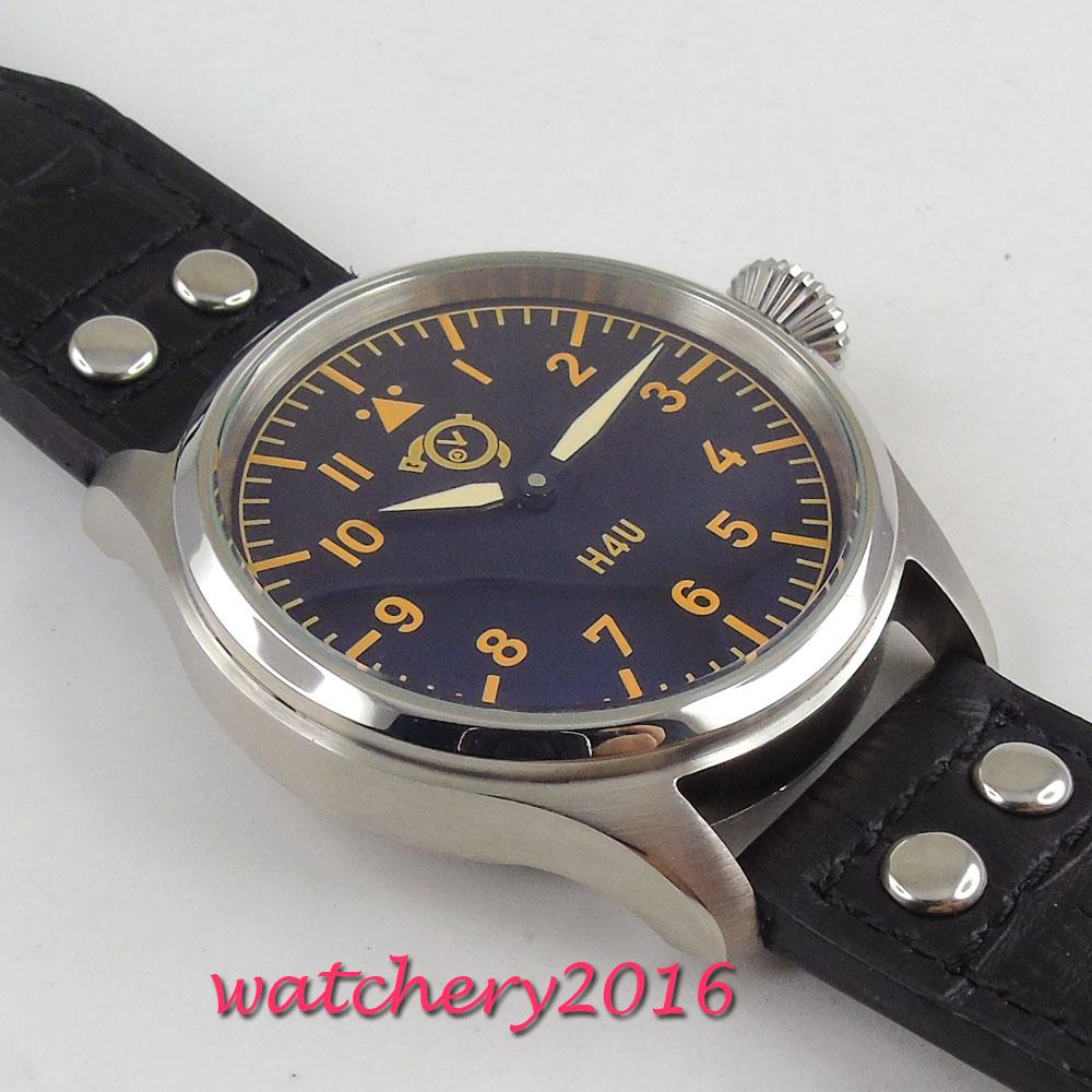 47mm corgeut cadran noir aiguilles lumineuses 6497 mouvement de remontage de la main montre pour hommes - 6