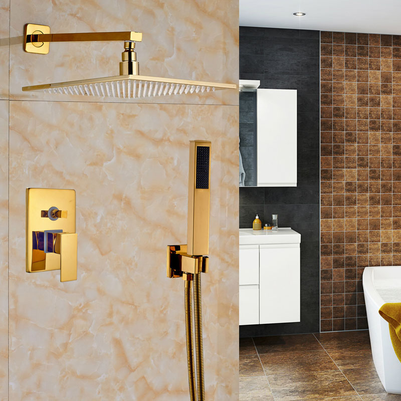 Factory Retail Bathroom Shower Mixer Faucet with ABS Hand Shower Gold Finish Deck Mounted sognare new wall mounted bathroom bath shower faucet with handheld shower head chrome finish shower faucet set mixer tap d5205