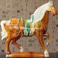 Horse ceramic ornaments Malaysia horse crafts antique gift ornaments vintage home decor statue Tang sancai ceramics pet cozinha