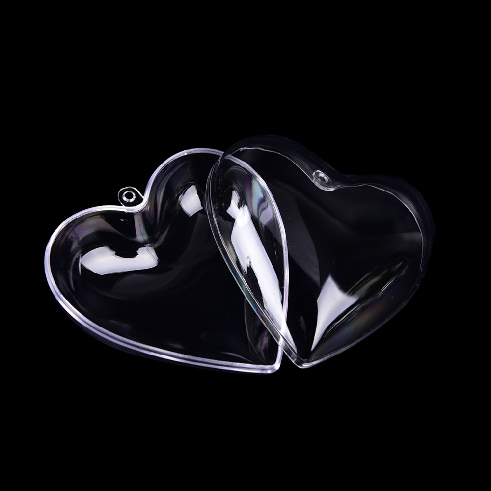 Купить с кэшбэком 1set/2pcs 65/80mm Heart Shape DIY Clear Plastic Bath Bomb Mould Acrylic Mold