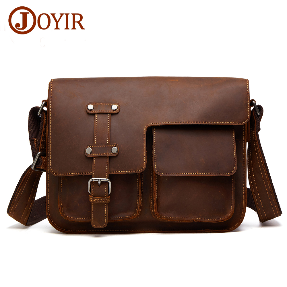 JOYIR Retro Shoulder Bags Genuine Leather Men Bags Real Leather CrossBody Bag For Male Brand Designer Hasp Messenger Bag joyir hot sell shoulder bags for male genuine leather messenger soft bag solid color locking buckle crossbody clutch package