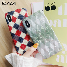 ELALA Glitter Phone Case For iPhone X 8 7 6 6sPlus Geometric Splice Diamond Marble Silicon Cover XR XS Max Candy