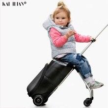 Новые милые дети меленький самокат чемодан Ленивый Сумка тележка дети carry on cabin путешествия сумки на колёсиках детская подарочная коробка