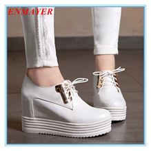 ENMAYER  Round Toe Knot High quality Casual Women Fashion wedges High shoes Platform Pumps girl shoes women Red White Pink