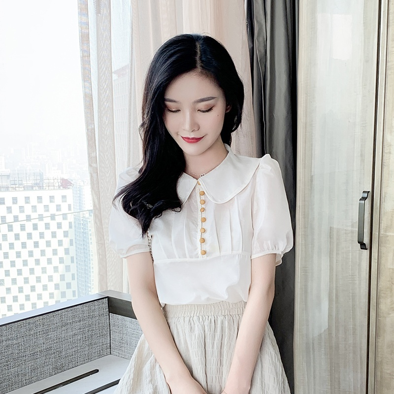 Womens Tops and Blouses Doll Collar Chiffon Shirt Blouse Puff Sleeve Short Sleeve Shirt Blusas 2019 in Blouses amp Shirts from Women 39 s Clothing