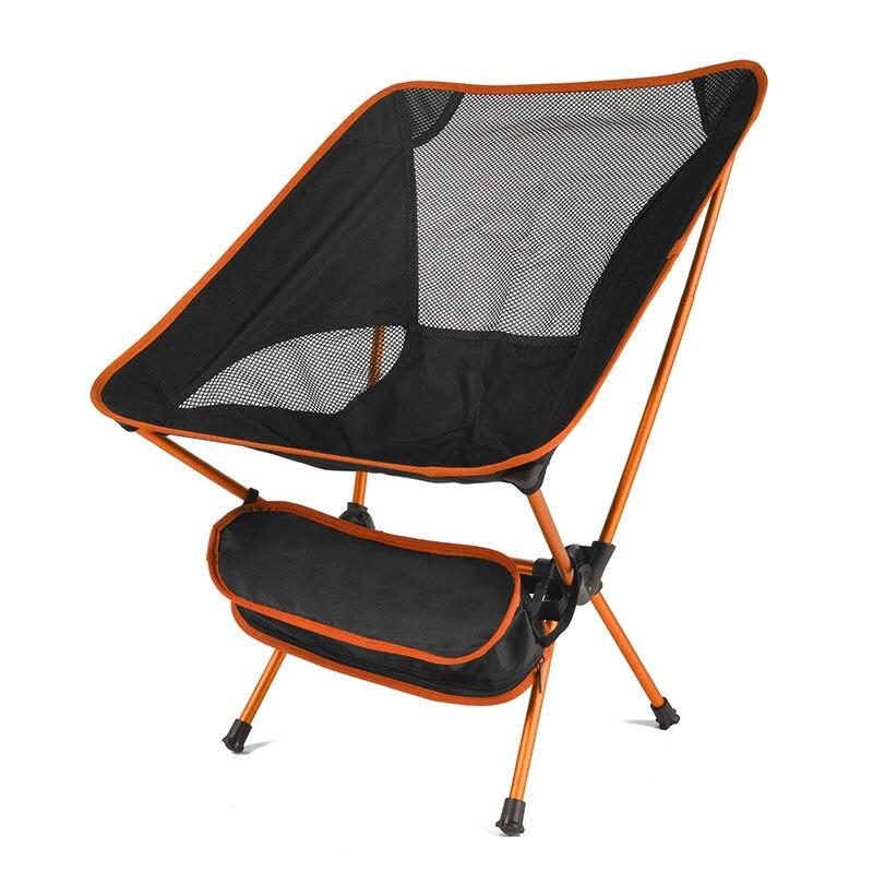 Портативный складной стул для рыбалки Кемпинг барбекю инструмент дышащий походный стул мебель сад Сверхлегкий Открытый компактный стул для рыбалки - Цвет: Orange