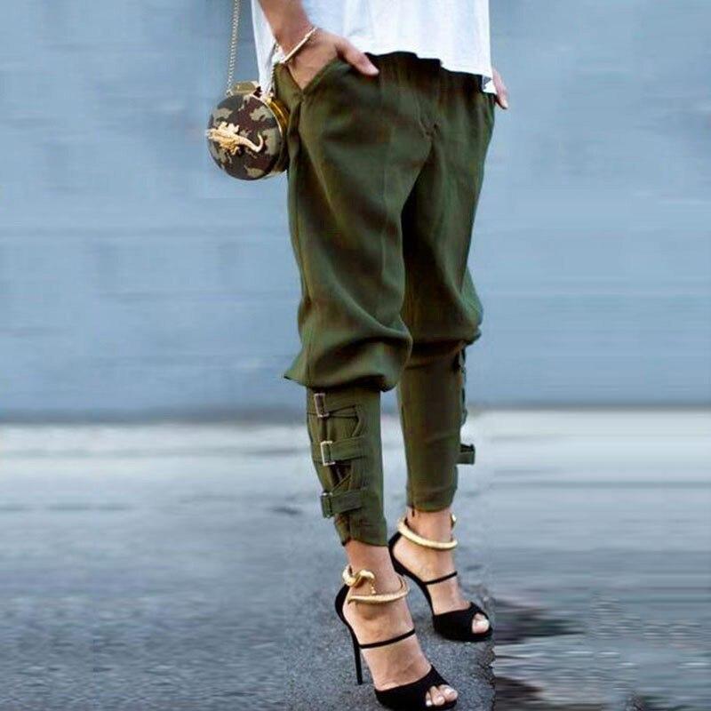 Suit-dress Solid Color Leisure Bandage Trousers Bound Feet Pencil Women   Pants     Capris