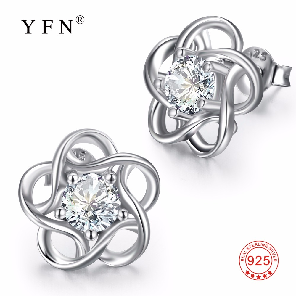 2832509b1 YFN 925 Genuine Sterling Silver Cubic Zirconia Flower Stud Earrings Fashion Jewelry  For Women Christmas Valentine's Day Gift-in Stud Earrings from Jewelry ...