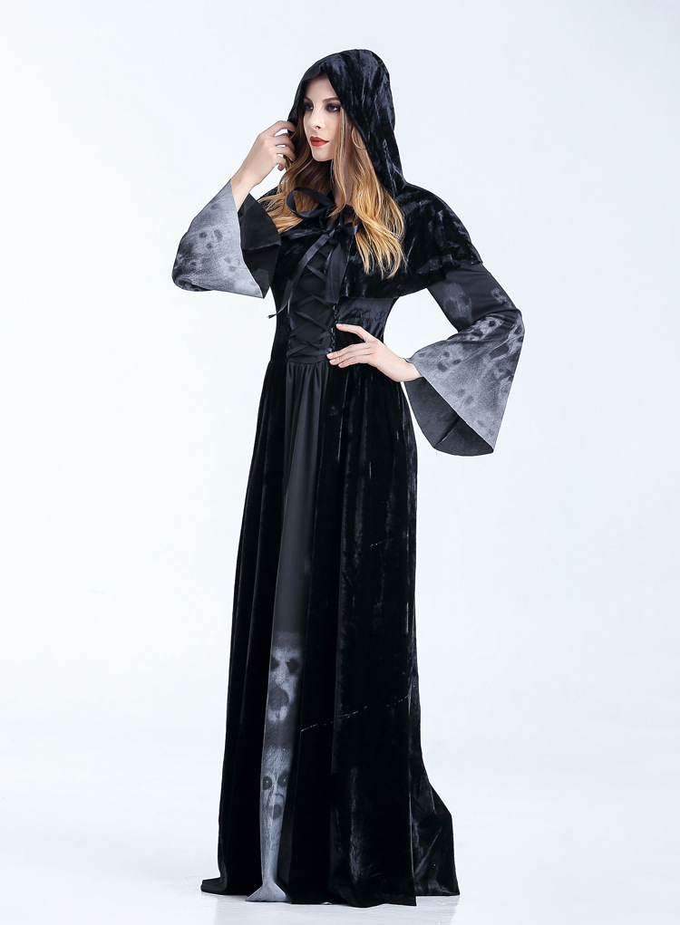 MOONIGHT Female Costumes Halloween Party Cosplay Queen Dress Gothic Witch Death Costumes for Women Fancy Dress