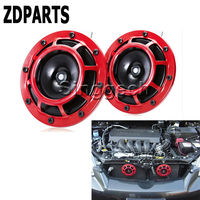 ZDPARTS 2PC For Ford Focus 2 3 Fiesta Mondeo MK Chevrolet Cruze Aveo Kia Rio Ceed Car Stickers Red Electric Blast Tone Horn Kit