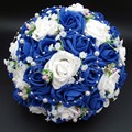 Bridal Bouquet Hot Sale Artificial Rose Flowers Pearls Bride Bridal Lace Accents Wedding Bouquets with Ribbon