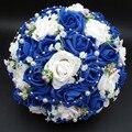 Ramo de novia de La Venta Caliente Artificial Rose Flores Detalles de Encaje de Perlas Nupcial de La Novia Ramos de Novia con La Cinta