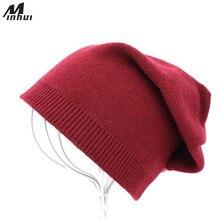 Minhui женские зимние шапочки Кепки S одноцветное Вязаный капор Шапки для женщин Gorro женский шляпа Кепки