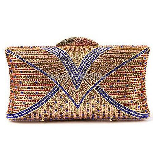 2015 alta calidad de lujo de diamantes hueco moda rayada colorida mini embrague