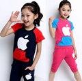 Лето девочка одежда короткий рукав T - рубашка + брюки комплект 2 штук 100% хлопок дети спорт одежда костюм для 8 ~ 16Y девочки