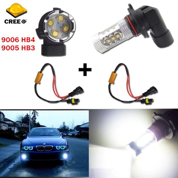 White 9006 HB4 P22d 1200Lms Cree LED Chips Bulbs Fog Lights Lamps/DRL/Daytime Running Light+Canbus Error Free Resistors Decoders