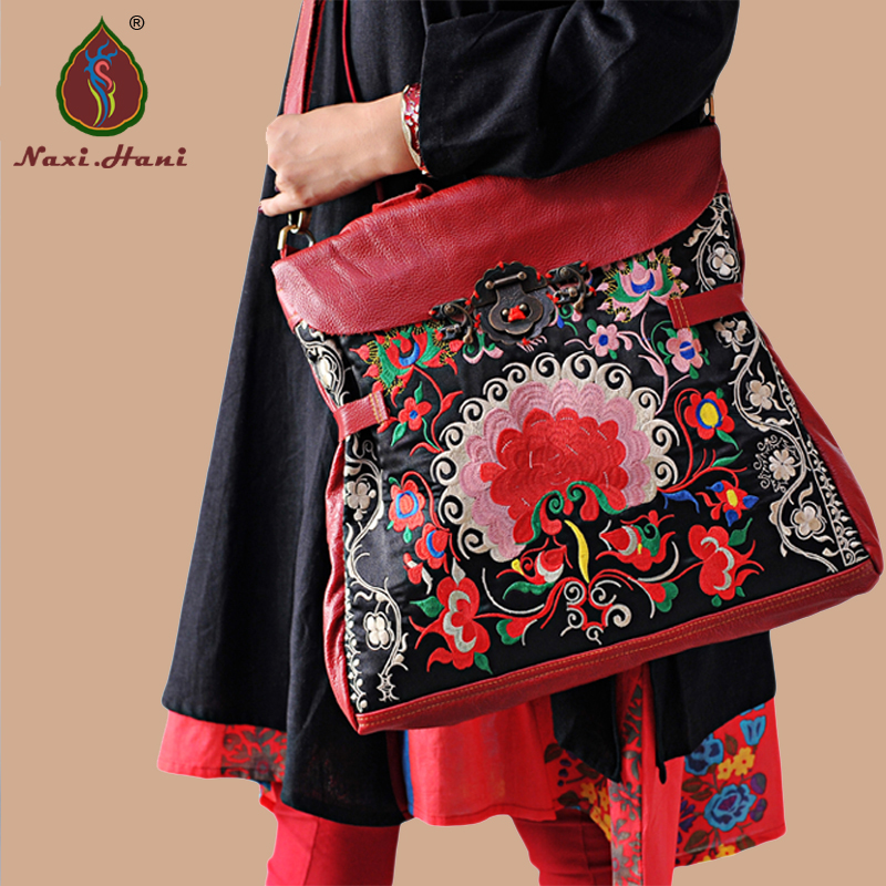 Ethnic handmade red Cow leather embroidery handbags Naxi.Hani brand Vintage genuine leather women shoulder messenger bags цена