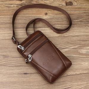 Image 3 - Erkek hakiki deri omuz çantaları küçük kare yüksek kaliteli çok fonksiyonlu askılı çanta Retro İş ofis cep telefonu St