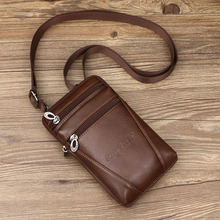 Men's Genuine Leather Small Square Bag High Quality Multi-Function Messenger Bag Retro Business Office Mobile Phone Storage