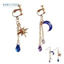 2017 New Hot 1PC Fashion Jewelry Form Sansummer Moon Star Sun Bohemia Gem Glittering Nobby Wonmen Top Selling Drop Earrings