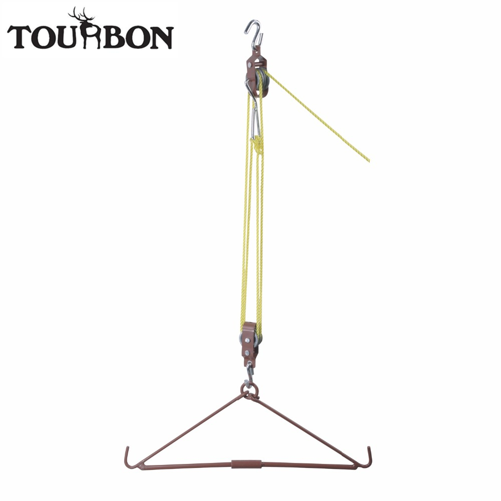 Tourbon Hunting Accessories 440LB Heavy Duty Deer Hoist Gambrel Swivel Hitch Lift System Pulley Goat Critters Hanger недорго, оригинальная цена