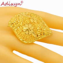 Adixyn NEW India Plus Wide Ring for Women/Girls Gold Color Trendy Delicate Party Jewelry African/Ethiopian/Arab Items N02273