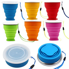 Portable Collapsible Metal ring Transparent Cover Cup Creative Outdoor Travel Folding Retractable Drinking Cups 240ml