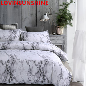 Bedding-Set Comforter-Cover Marble Printed King Queen-Size Black White Brief 3pcs
