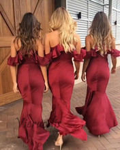 Concise Burgundy Bridesmaid Dresses Long 2019 Wedding Party Dress V-Neck Satin Mermaid Slim Fit Formal Banquet Maxi Dress Women v neck red bean pink colour above knee mini dress satin dress women wedding party bridesmaid dress back of bandage