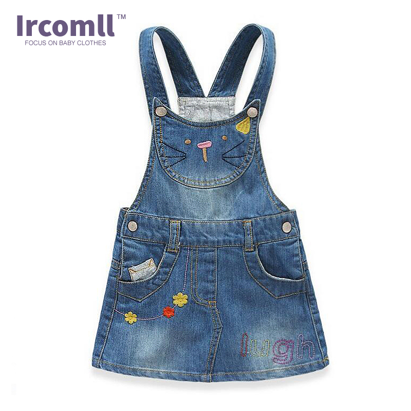 2018 New Girls Jeans Skirt Girl Suspender Casual A-line Cute Cats Girls Denims Suspender Overalls Girl 2-8Year Denim Clothes vintage single breasted solid color furcal denim suspender skirt