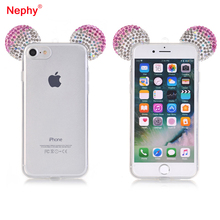 Nephy Mickey Shine Crystal Ear Silicone Phone Case For iPhone 5 5S SE 6 6S 7 Plus Rhinestone Diamond Soft Cover Smartphone Capa