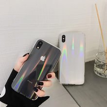 Moda gradiente Arco Iris láser funda para iPhone X XS Max Xr transparente suave Capa Fundas para iPhone 8 7 6 funda de gel de sílice 6S Plus(China)