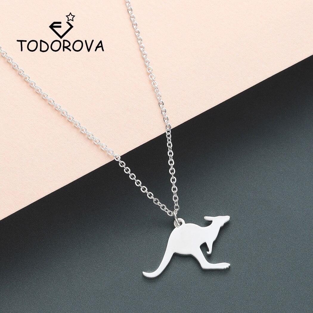 Todorova Cute Kangaroo Pendant Necklace Chain Australia Vacation Wallaby Necklace Women Men Jewelry Wild Animal Gift