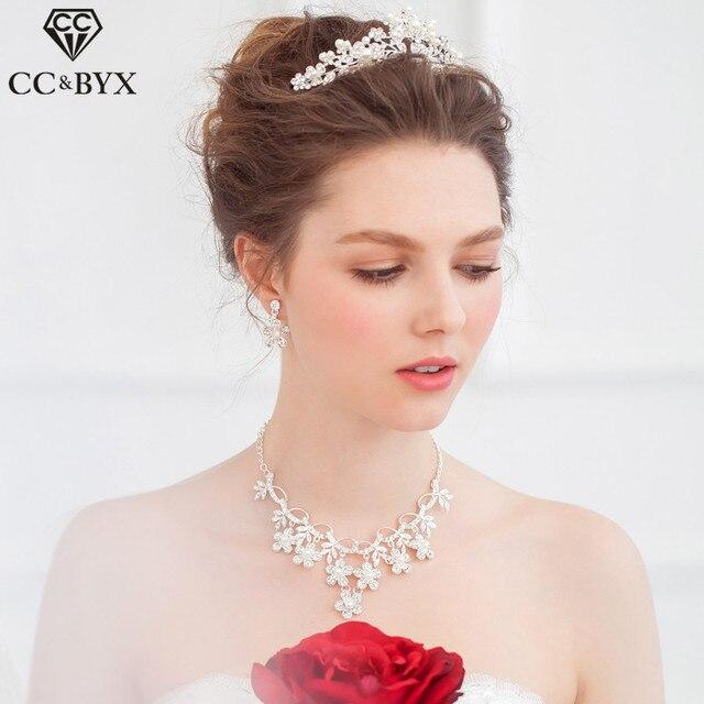 Cc Jewelry Crowns Tiaras Bridal Crystal Pearl Tiara Wedding Hair Accessories For Women Party Headwear Queen