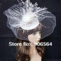 Free shipping whole sale and retail the fashion new handmade linen and veils fascinator hats white color cocktail headweaar M17