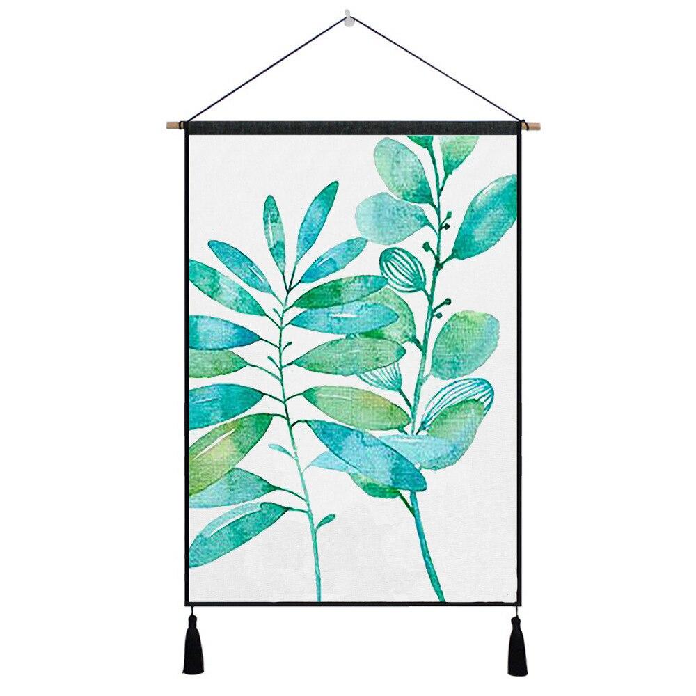 De Goedkoopste Prijs Groene Planten Leaf Tapestry Opknoping Muur Doek Tapijt 45*65 Cm Art Tapisserie Schilderij Tapijt Boho Woondecoratie Accessoires