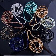 2016 4mm cuentas de Hombres collar largo semi perlas preciosas con S925 plata esterlina collar de cuentas espaciador