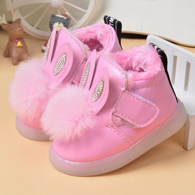 Winter Baby Girls Cotton Shoes Boots Rabbit Fur Children Baby Boys Shoes Warming Thickening Plush Boots Soft Bottom Kids Boot