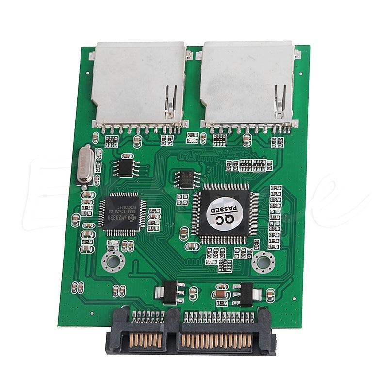 цена 2 Port Dual SD SDHC MMC RAID to SATA Converter Adapter For Any Capacity SD Card C26