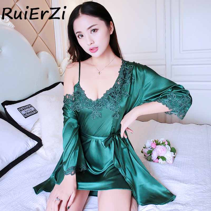 2018 New Arrival Silk Robe & Gowns Set Free Sexy Lace Embroidery Print Fashion Two Piece Suspender Sleepwear + Bathing Robe Hot